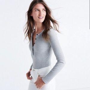 Madewell Gray Long Sleeve Henley Bodysuit Sz Small